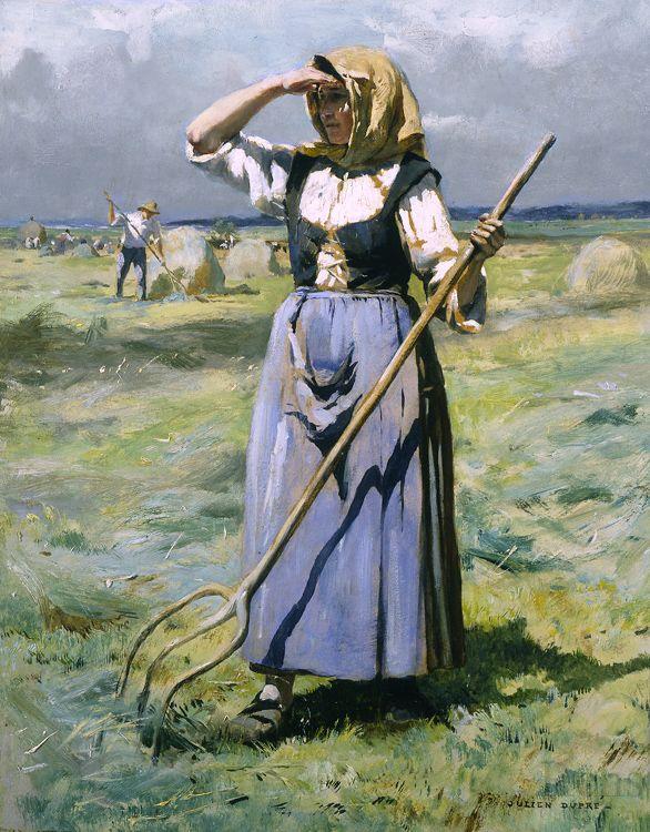 Julien Dupré Femme au soleil - faneuse (1851 - 1910) Olio su tavola 20 x 16 cm