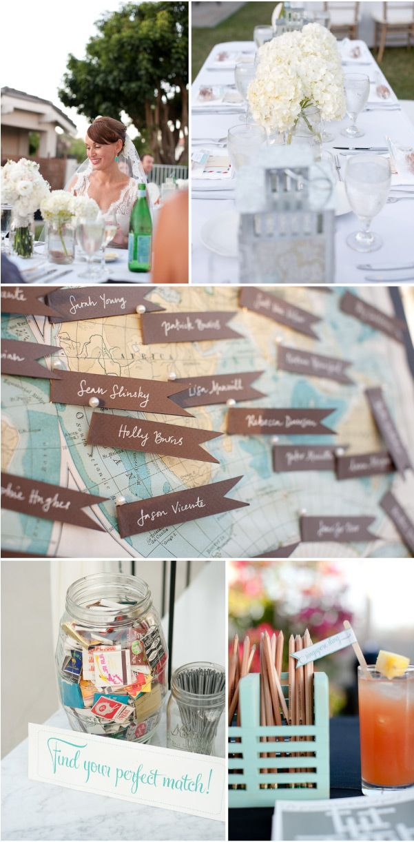 """tolle Idee für den Sitzplan: Weltkarte mit kleinen Fähnchen auf denen die Namen der Gäste stehen und auf der Rückseite die Tischnummer. Über der Karte steht """"Wo in der Welt sitzt ihr?"""". Die Gäste können ihren Namen suchen und wissen dann an welchem Tisch sie sitzen"""