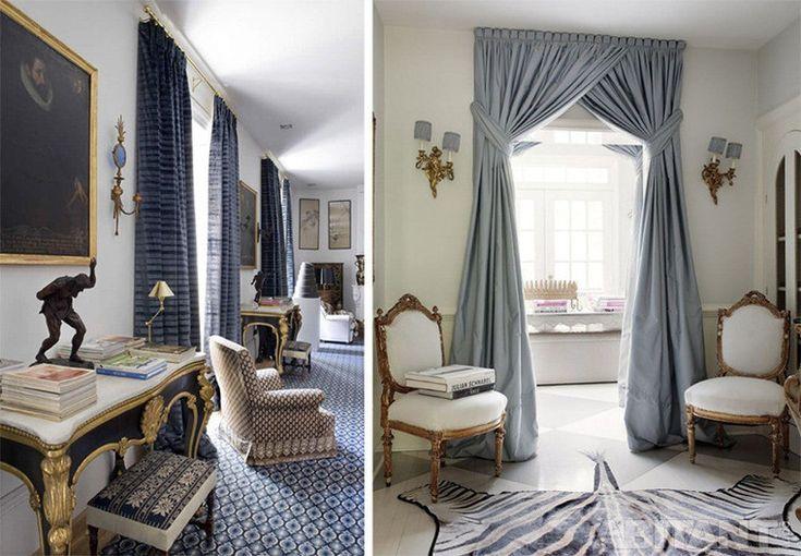 Сине-серые шторы в классической гостиной