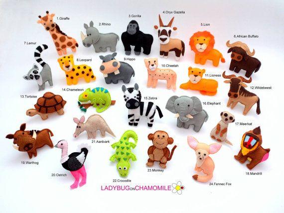 Afrikaanse dieren. Gevulde viltmagneten of ornamenten prijs