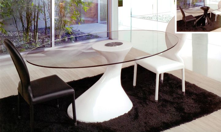 Mesa de comedor redonda de cristal con pata central de for Mesa comedor cristal 200 cm