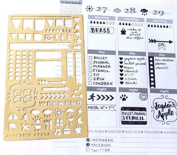 Bullet Journal Stencil ECLP Planner Stencil Stencil for Erin
