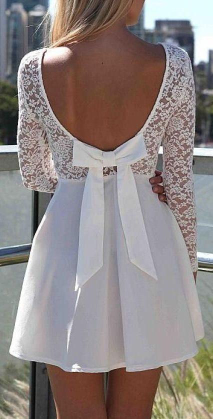 Cute White Lace Dress ღ