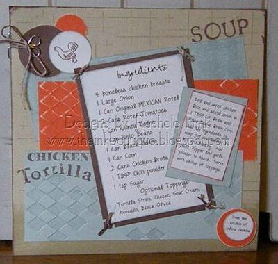 Soup and Recipe Card for someone sick - links to many scrapbook recipe cards