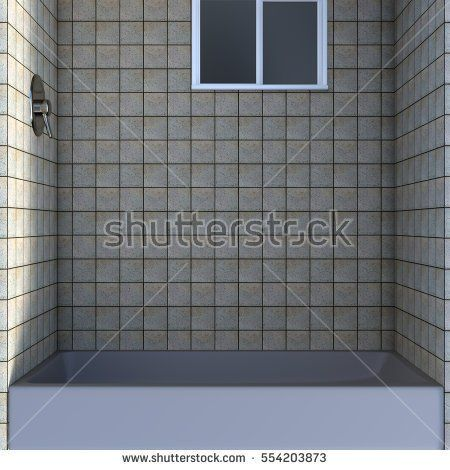 View inside the shower cabin. Marble tile. Down. 3D rendering, 3D illustration