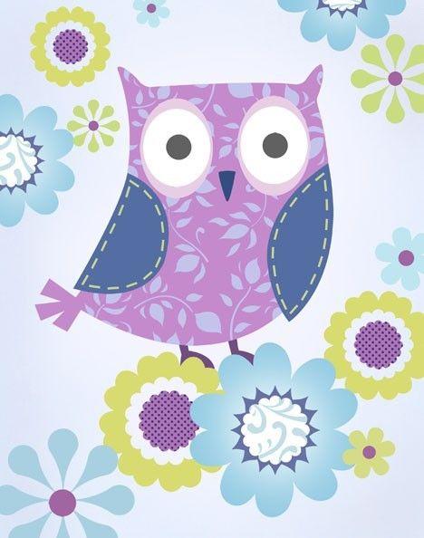 Lilac Owl Art Print. $15.00, via Etsy.