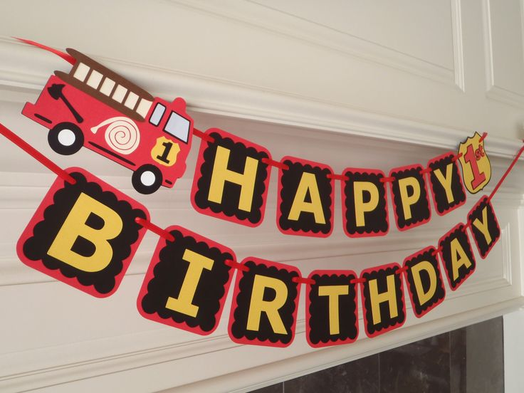Fire Truck Birthday Banner for Firetruck Party with Age and Custom Name Option by Feisty Farmers Wife by FeistyFarmersWife on Etsy https://www.etsy.com/listing/189205333/fire-truck-birthday-banner-for-firetruck