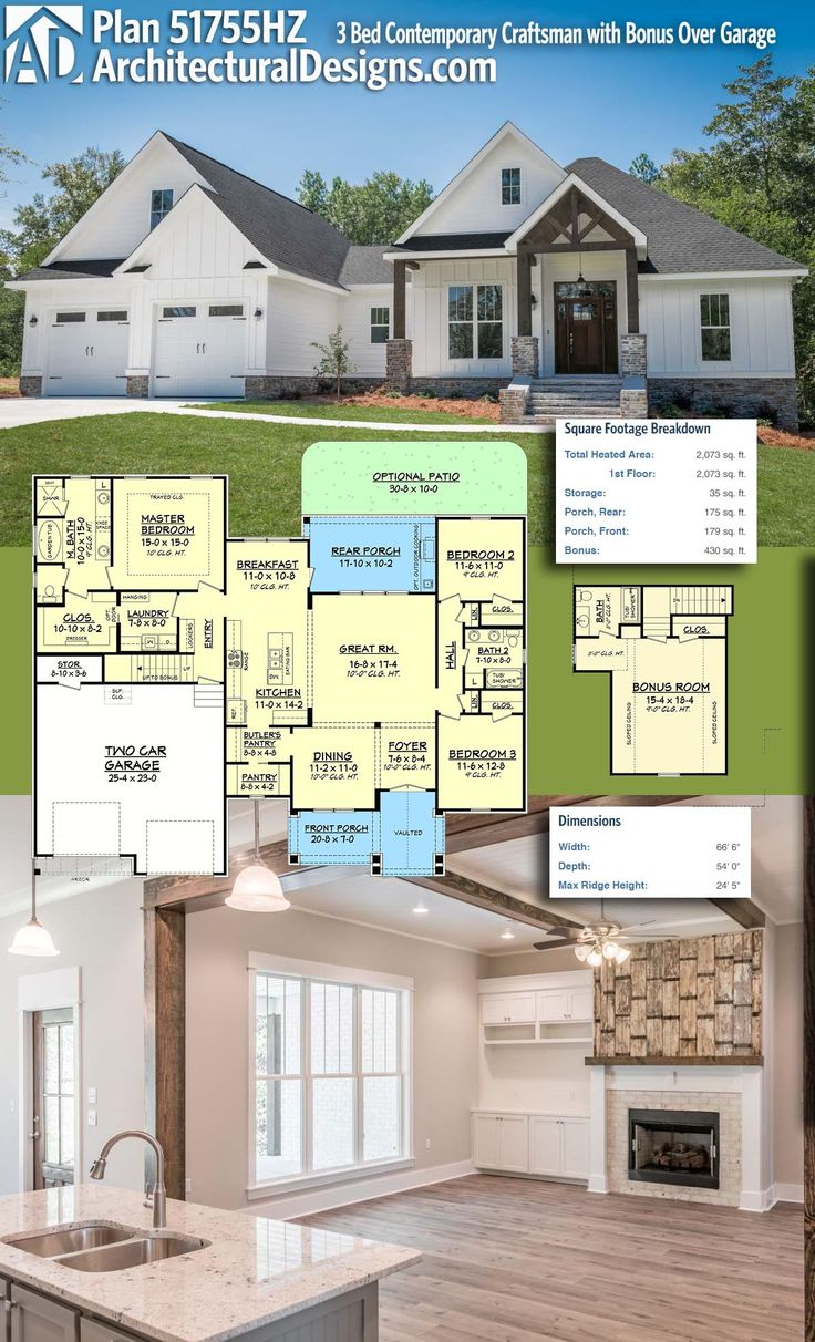 architectural designs house plan 51755hz is a 3 bed contemporary craftsman design with a bonus room