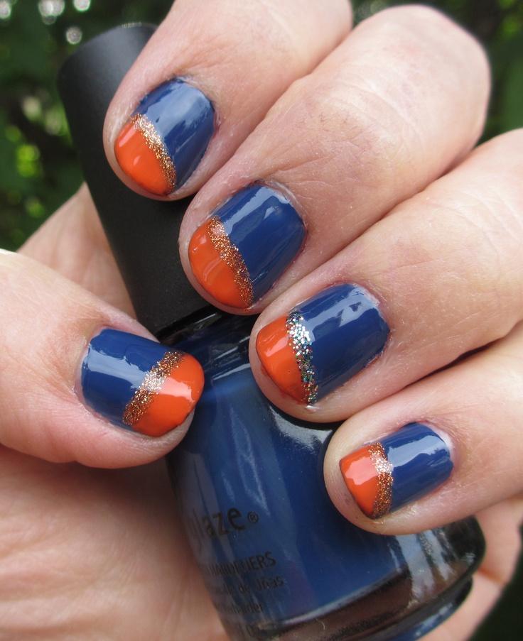 Navy Blue And Orange My Nail Art Designs Pinterest Blue And Navy Blue And Navy