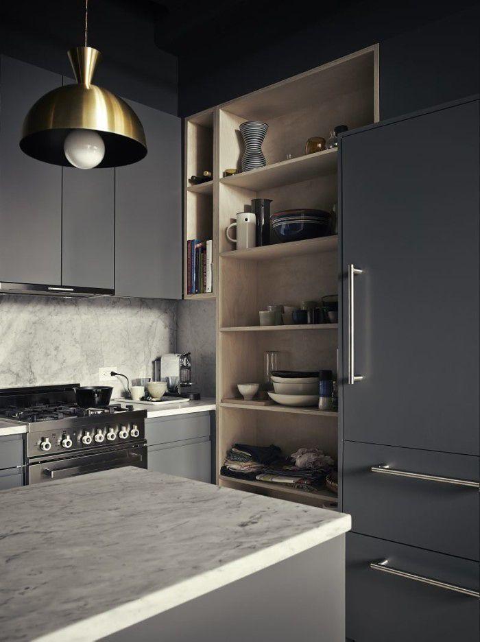dark grey kitchen - brooklyn loft - pia ulin