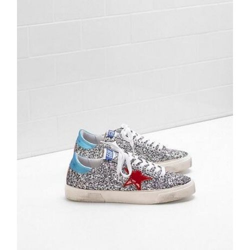 Outlet Golden Goose May Chaussures GGDB Glitter Sneakers Femme Argent Bleu Rouge