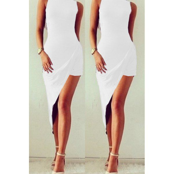 Sexy O Neck Tank Sleeveless Asymmetrical Women's Mini Dress