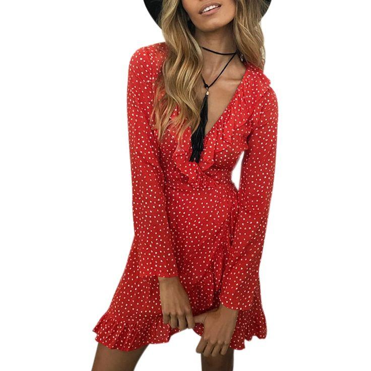 Long Sleeve Chiffon Polka-dot Dress V-neck Ruffles PU27 2
