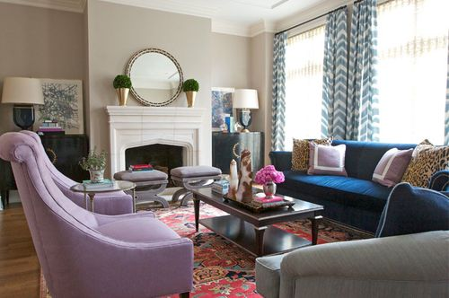 Pair of lilac chairs persian rug and a navy velvet sofa - Navy rug living room ...