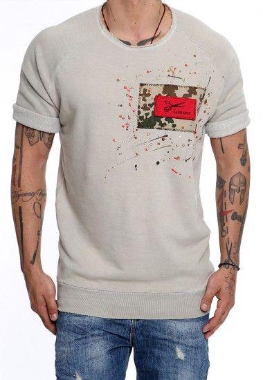 beige camo patch  #vagrancylifestyle #handmade #sweatshirts #man