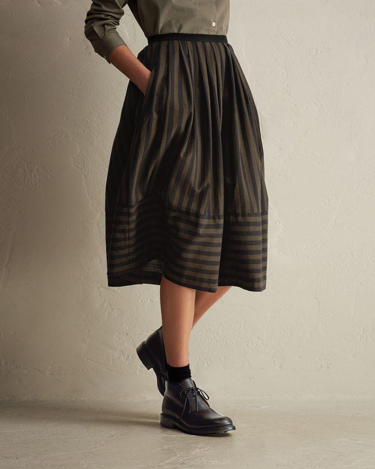 TOAST   Wide Stripe Cotton Skirt