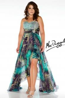 Multi Colored High Low Plus Size  Gown