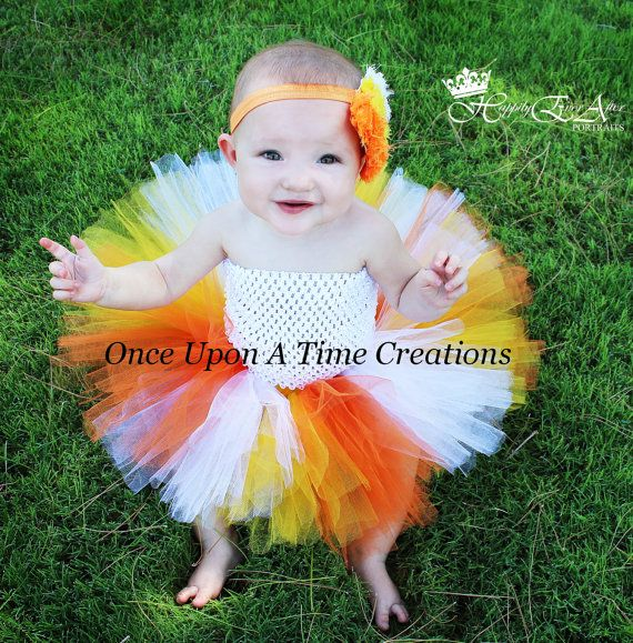 Candy Corn Princess Tutu Dress - Newborn 3 6 9 12 Months ... Halloween Birthday, Photo Prop, Dress Up, Costume - Orange, Yellow, White