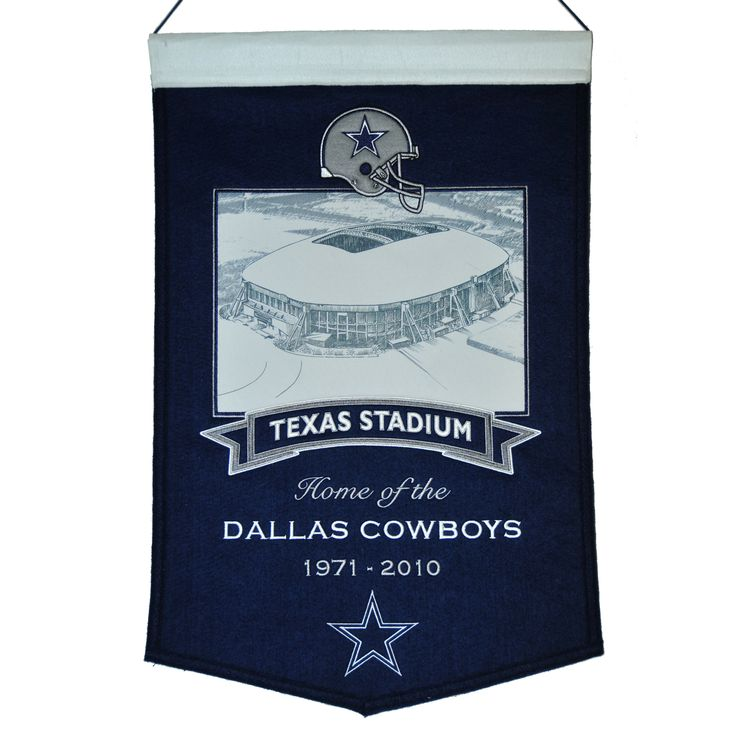 "This beautifully embroidered 15"" x 20"" banner celebrates the proud tradition of the Dallas Cowboys and their famed Texas Stadium Dallas Cowboys. This banner is constructed from wool and includes embroidery and applique. A hanging rod and cord are included for easy hanging."