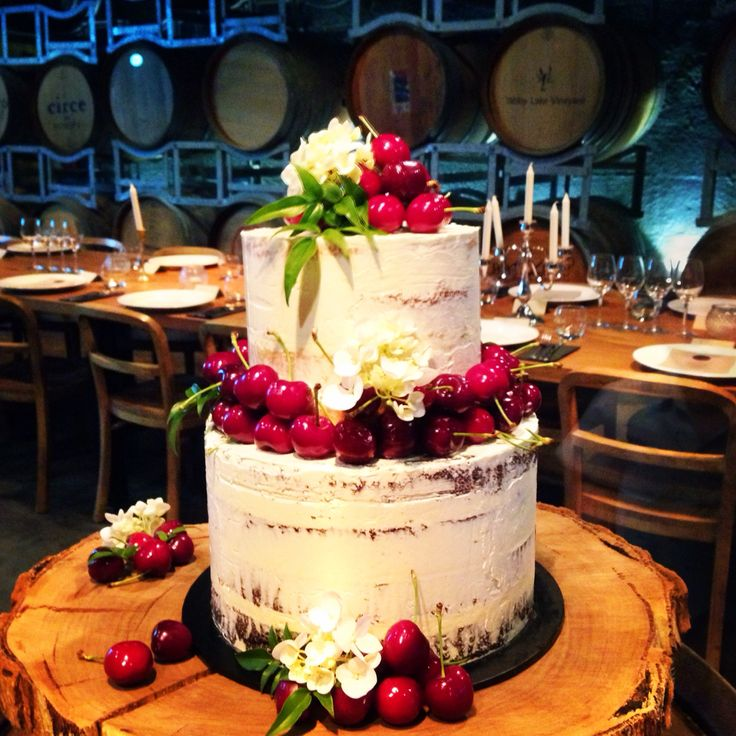 Two tier semi naked cake