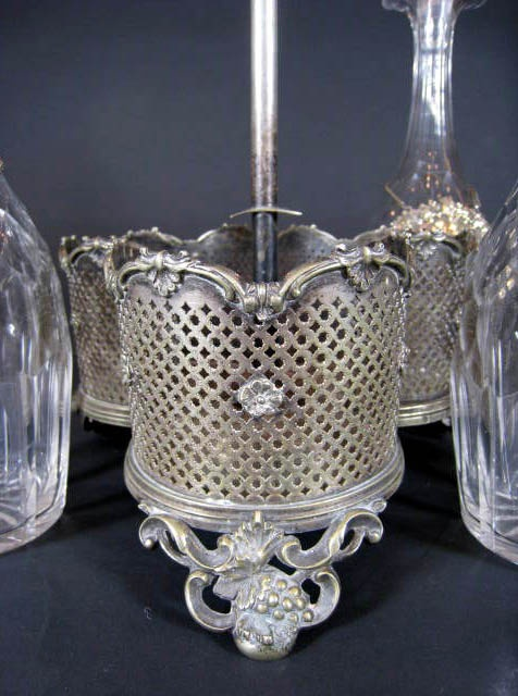 Victorian Decanter Set - with 3 matching cut crystal decanters