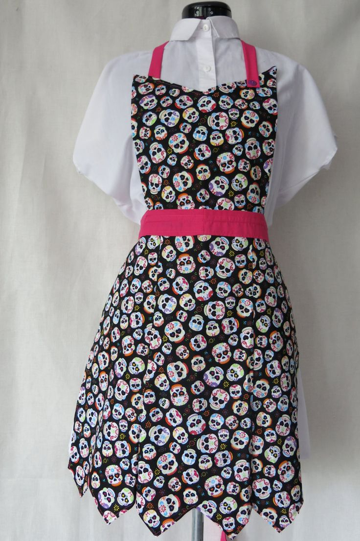 Sugar Skull Full Front Adult Apron / Hot Pink Skull Apron / Punk Apron / Mommy and Me Set / Childs Skull Apron by ShepherdStreet on Etsy
