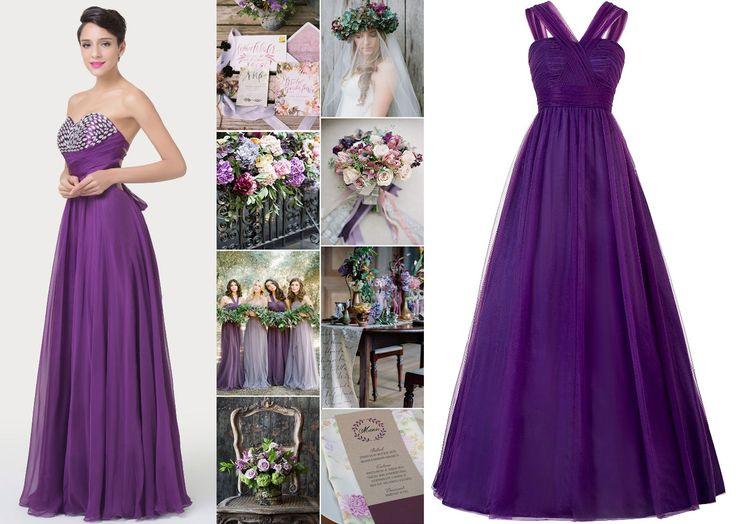 Fialové šaty pre družičky, fialové popolnočné šaty