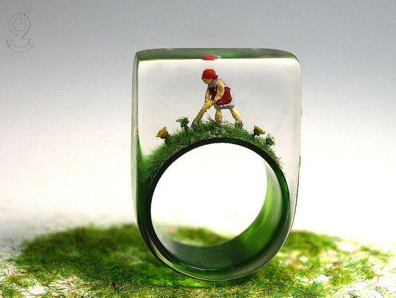 Зеленый палец - Заколдованный садовник кольцо с мини-садовника, красочные цветы и травы на зеленом кольцо из смолы