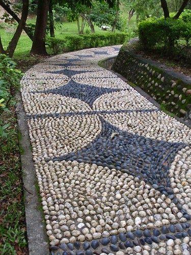 Mosaic Pebble Path. Great Idea!!