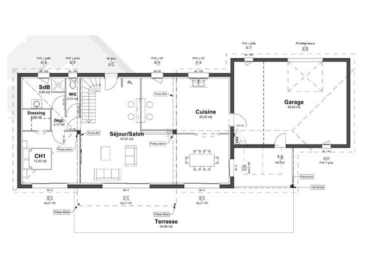 10 best Plan maison images on Pinterest 3d house plans - plan maison demi sous sol