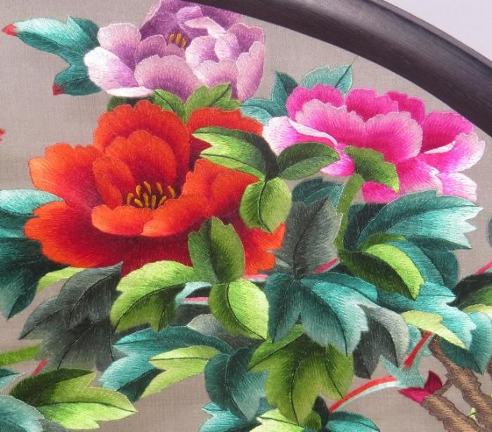 2-sided peony embroidery art screen