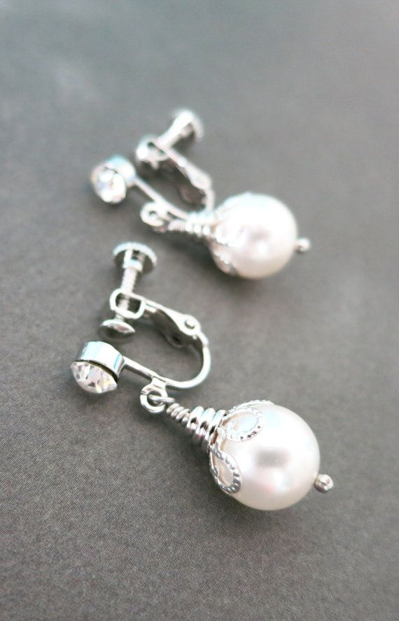 Pearl Clip On Simple Drop Earrings Gifts Gold Bridesmaid
