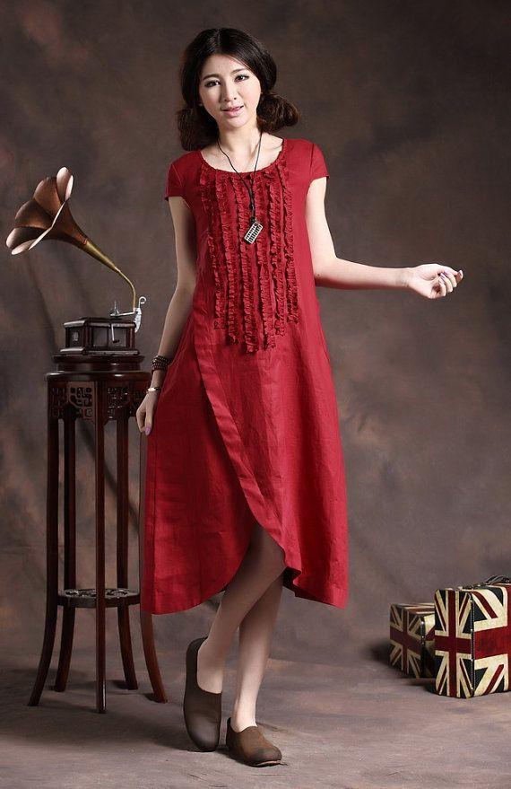 Ruffle Linen Dress in Red / Long linen sundress /Asymmetrical Red Kaftan / Maxi Dress /Loose Oversize Dress, XL,XXL custom A8011
