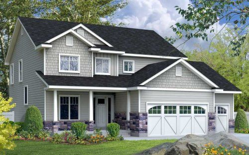 Best Light Grey Siding Light Grey Shingle Brick And Dark Charcoal Roof 3 Over 1 Windows Craftsman 400 x 300