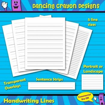 Handwriting Lines, Sentence Strips, Writing Lines Transparent OverlayThis is a set of basic handwriting lines in a variety of sizes.  The set includes transparent overlays of handwriting lines that you can easily add to your worksheets and TPT products.