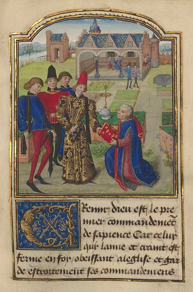 с.1468-70.Miniature from L'instruction d'un jeune Prince. Georges Chastellain giving book to Charles the Bold.Guillebert de Lannoy.