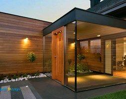 Aranżacje wnętrz - Domy: drzwi, okna, szkło architektoniczne - Małe jednopiętrowe domy jednorodzinne z dwuspadowym dachem drewniane, styl klasyczny - Alpina Design Ogrody Zimowe & Szkło Architektoniczne. Przeglądaj, dodawaj i zapisuj najlepsze zdjęcia, pomysły i inspiracje designerskie. W bazie mamy już prawie milion fotografii!