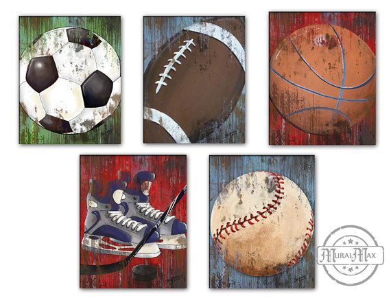 Vintage Sports Wall Art Basketball Baseball and by MuralMAX