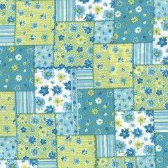 Coton Imprimé Carré de Fleurs - Patchwork - Sarcelle