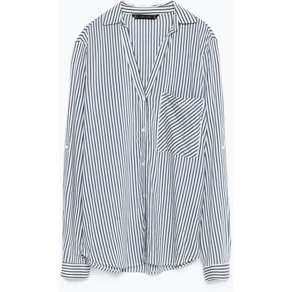 Zara Striped Shirt ($40) ❤ liked on Polyvore featuring tops, shirts, blouses, haut, stripe shirt, zara shirts, shirts & tops, zara top and striped top
