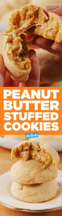 These Peanut Butter Stuffed Cookies have the easiest hack for getting PB in the center of your cookie. Get the recipe from Delish.com.