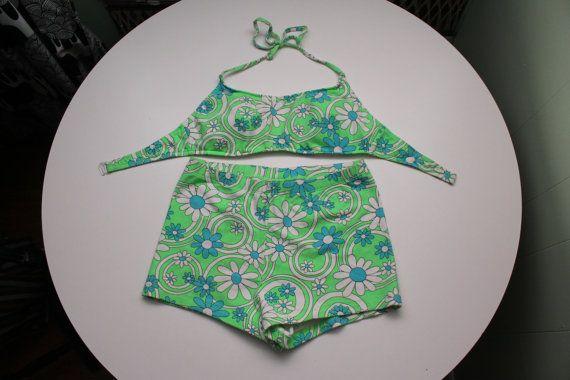 Costumi da bagno floreale Vintage donna / / due pezzi Bikini con pantaloncini ragazzo / / / / di Daffy Waterwear