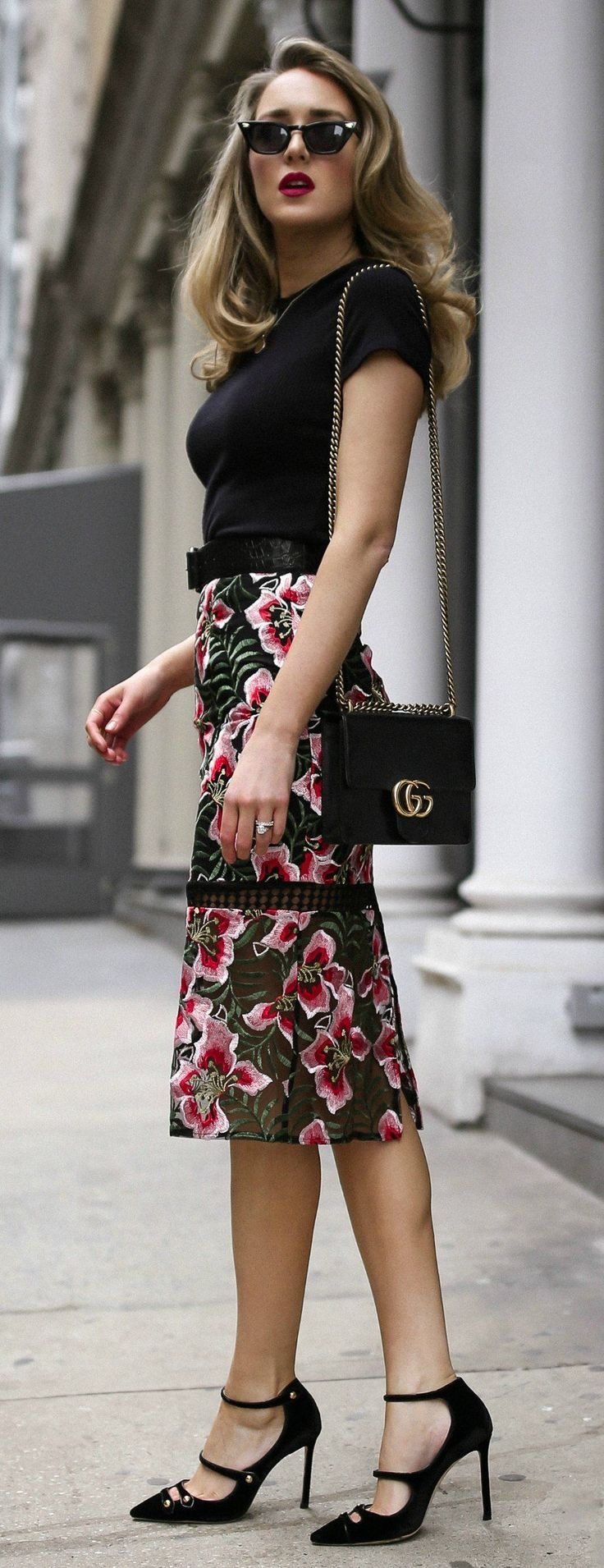 The Perfect Transition Piece: Dark Floral Skirt // Dark floral midi pencil skirt, black short sleeved tee shirt, black embossed waist belt, black patent leather mary jane pumps, black shoulder bag with chain, black retro sunglasses {Gucci, Jimmy Choo, Ant