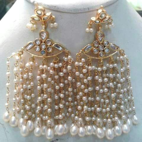 Fan like danglers with pearls and gold