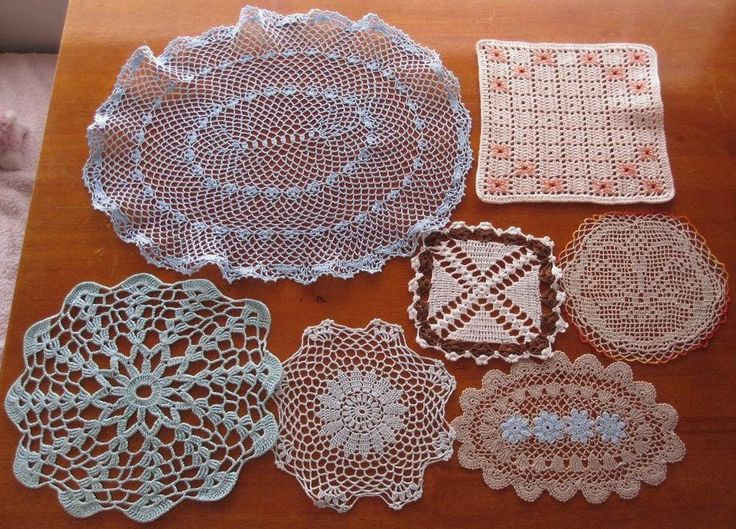 Seven Exquisite Vintage Crochet Pieces in Blues and Tans lots of Variety in Antiques, Textiles, Linens, Lace, Crochet, Doilies | eBay SELLER ID:kathy_a1
