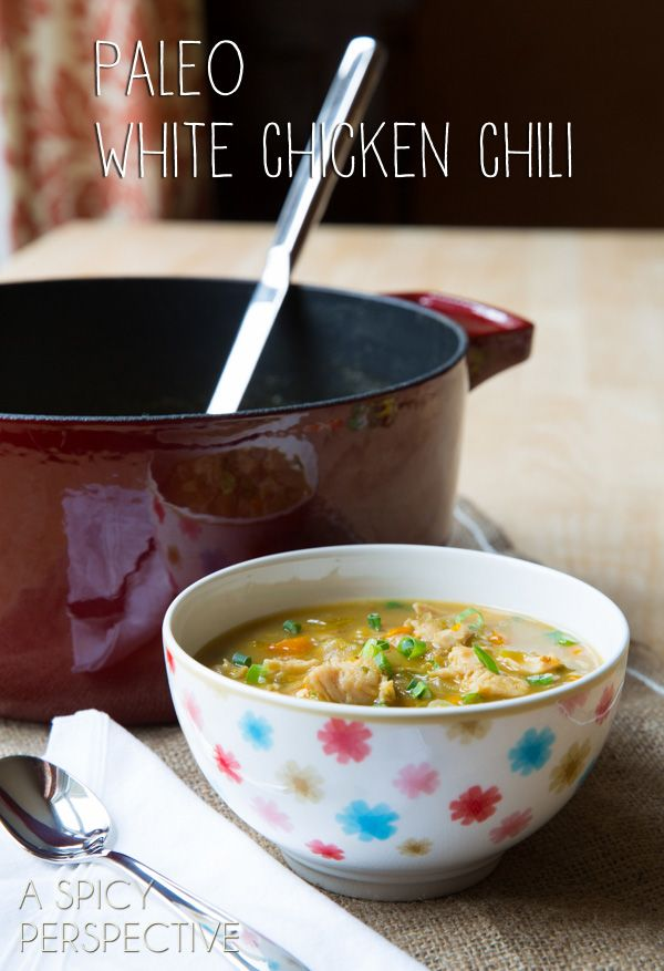 Paleo White Chicken Chili - This was delicious! I topped with green onion, cilantro and avocado.
