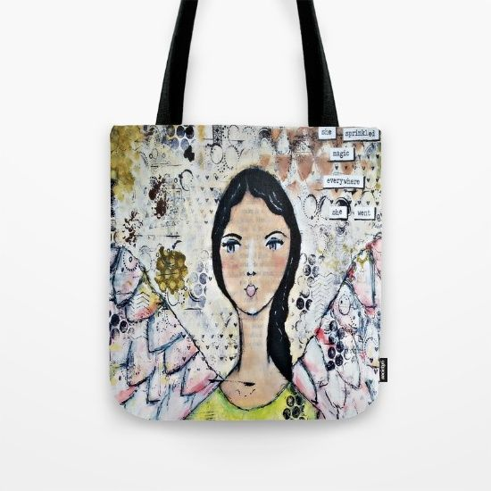 Buy Original Mixed Media Angel of Magic Tote Bag by Croppin'Spree. Worldwide shipping available at Society6.com. Just one of millions of high quality products available.