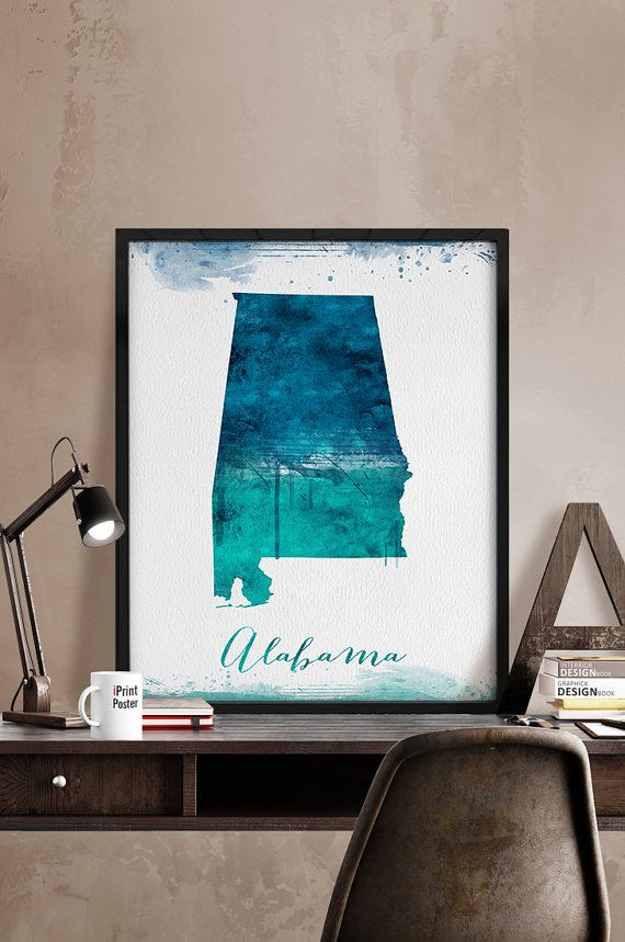 California Cities Map Quiz%0A Alabama state map print Alabama state watercolor by iPrintPoster