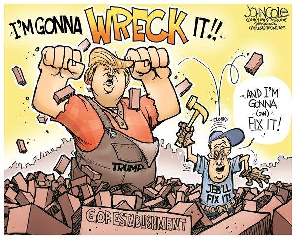 WRECK IT TRUMP & FIX IT JEB!   Nov/11/15 John Cole - The Scranton Times-Tribune - Wreck-it Donald and Fix-it Jeb COLOR - English - Donald Trump, Jeb Bush, GOP, 2016 elections, polls, debates, tea party, wreck-it-ralph