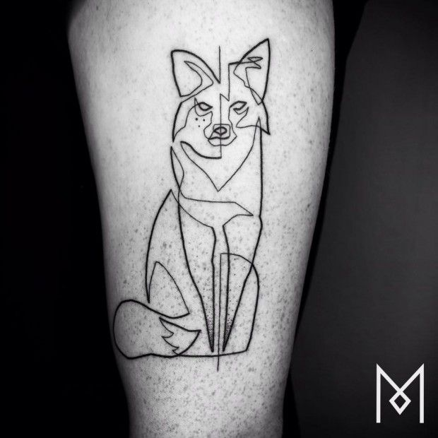 Mo Ganji , Artiste , Tatouage , Trait , Renard